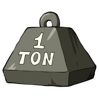 Hvor meget fylder 1 ton sand eller jord?