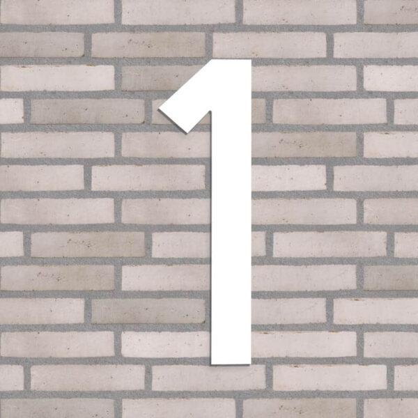 husnummer 1, hvid, 40 cm høj
