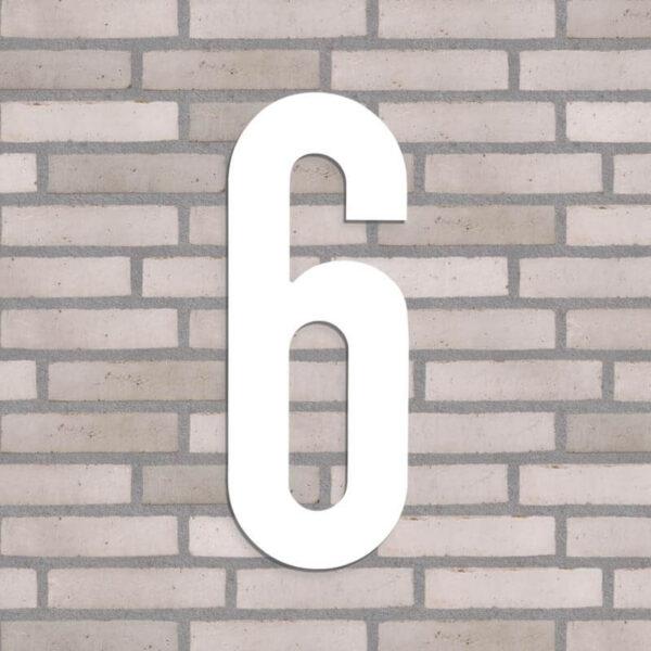 40 cm højt hvidt husnummer nr. 6