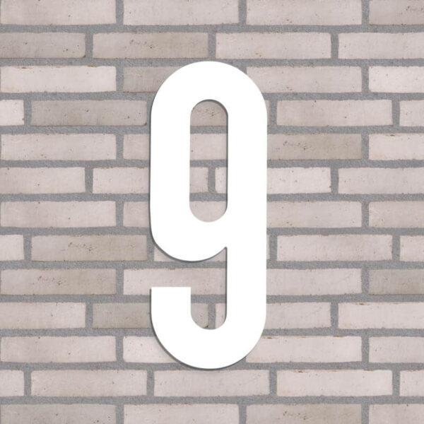 hvid nr. 9 husnummer 40 cm. høj