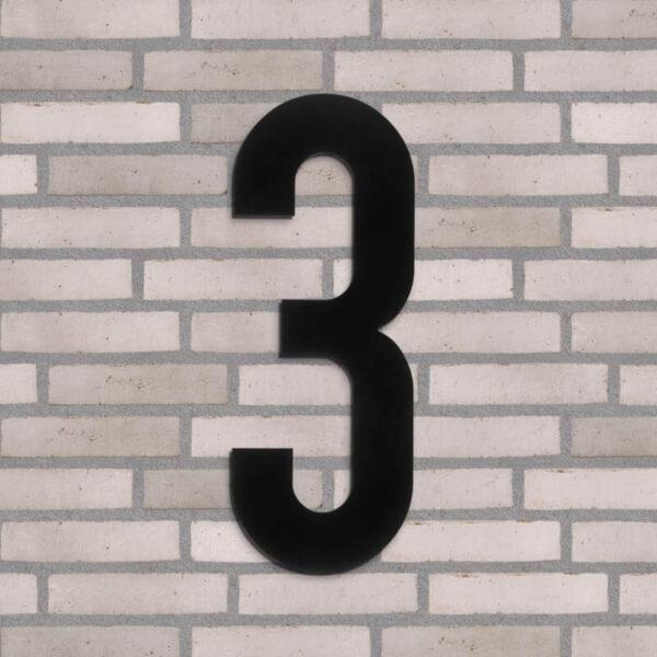 3 tal husnummer sort 40 cm