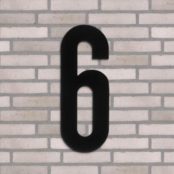 6 tal husnummer sort 40 cm