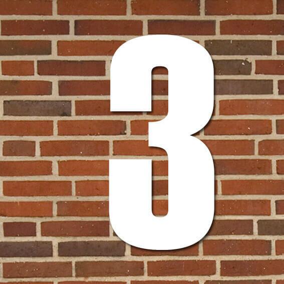 hvid husnummer #3