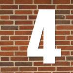 hvid husnummer #4