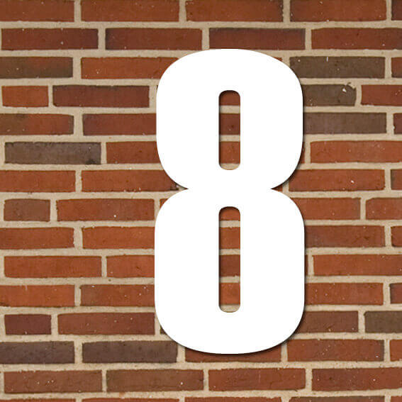 hvid husnummer #8