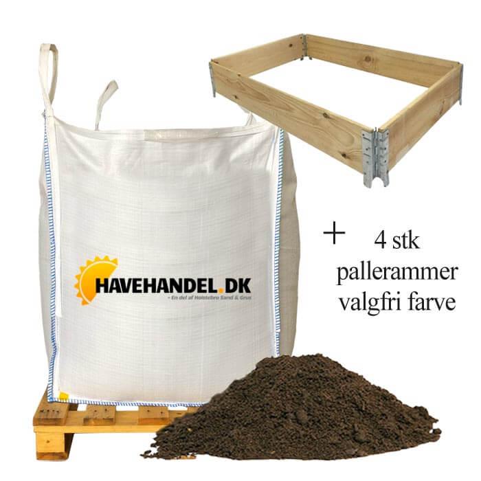 Image of   Højbedspakke - højbedsmuld og 4 pallerammer