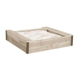 Sandkasse med praktiske sæder