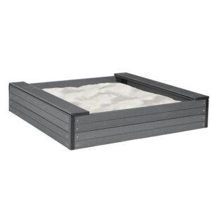 Sandkasse i sort komposit WPC med sæder