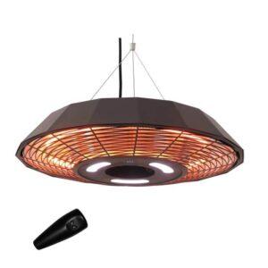 Terrassevarmer UFO model med fjernbetjening og LED-lys