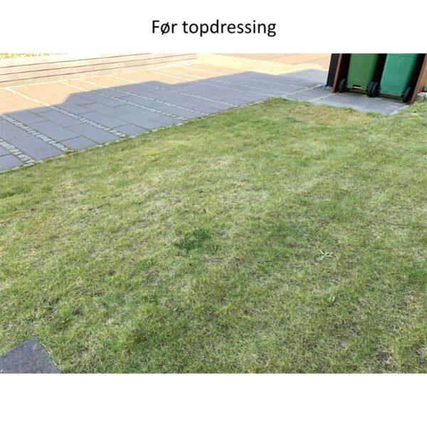 dårlig græsplæne før topdressing