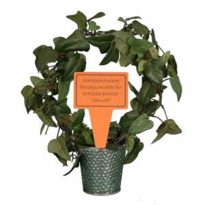 sjovt planteskilt - statskontroleret forsøgsområde