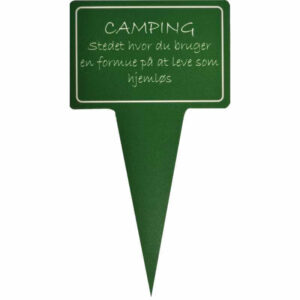 sjovt planteskilt - camping