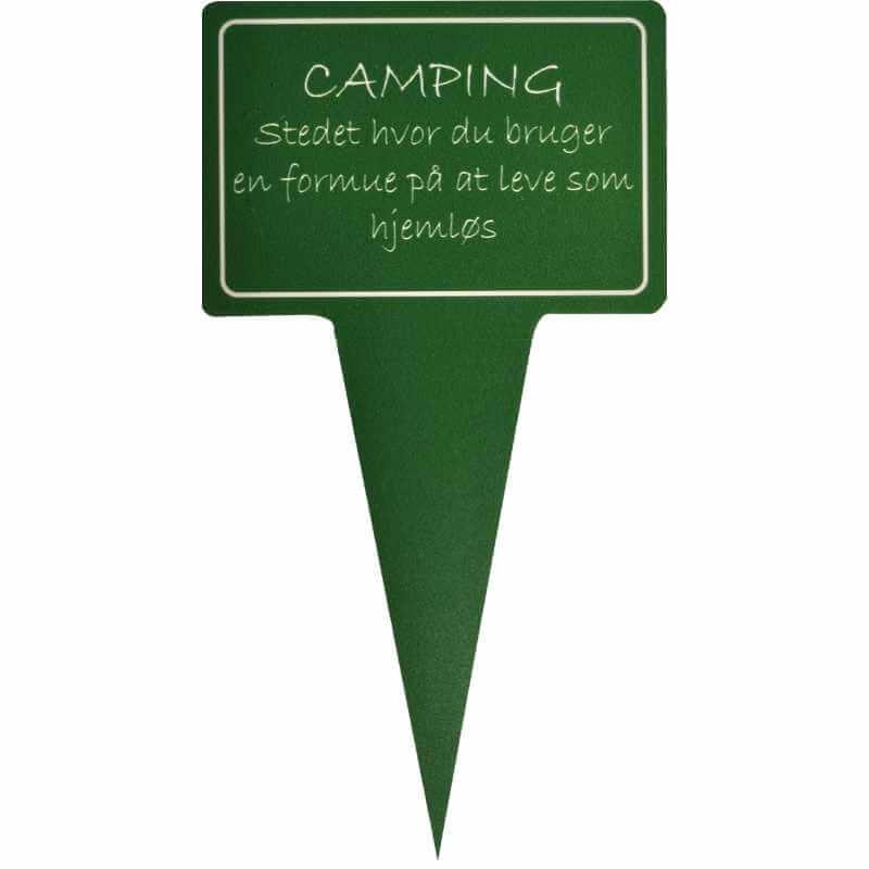 Image of   Sjovt planteskilt - camping