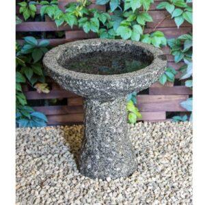 granit fuglebad i farven grå