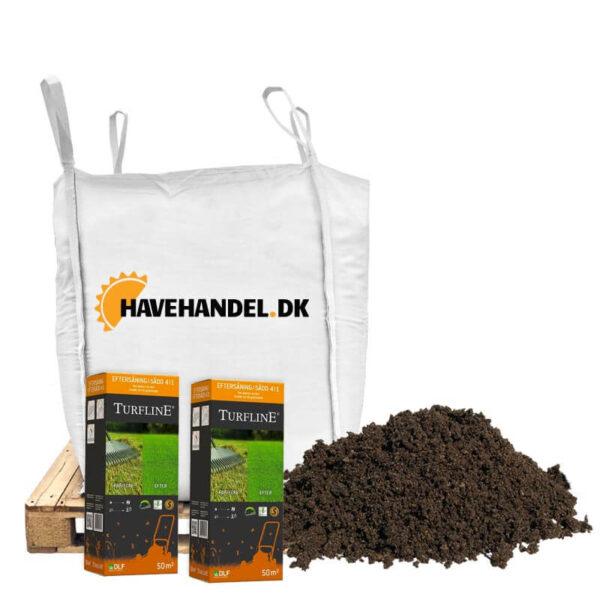 topdressing eftersånings pakke med græsfrø og plænedress